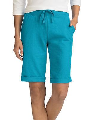 Hanes Bermuda Shorts Pockets Women's French Terry Drawstring Closure Activewear - French Terry Short Short