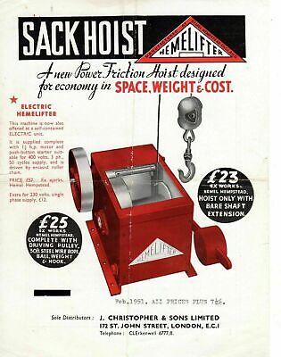 Vintage Hemelifter Sack Hoist 1951 Leaflet / Brochure 7191E