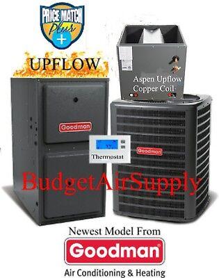 3 Ton Goodman/ASPEN 14 seer 95/96% 80K BTU Gas Furnace UPFLO