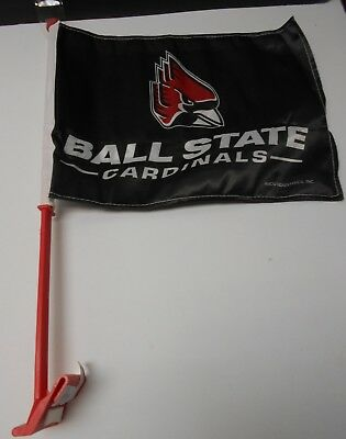 Ball State Cardinals Car Flag. Red Pole.  Printed both sides. SAVE   #382 State Car Flag