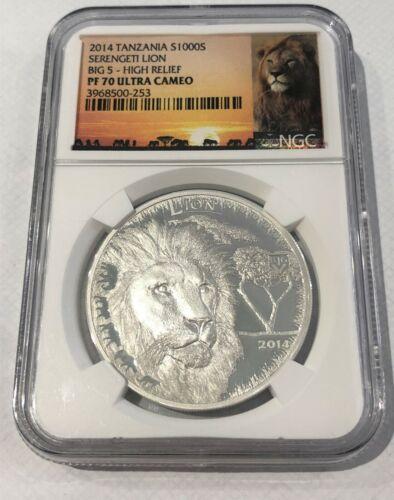 2014 Tanzania Silver 1000 Shillings Serengeti Lion Big 5-HR NGC PF-70 UC