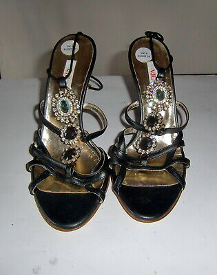 Versace Rhinestone Sparkle Shoes.Amazing Strappy High Heel Versace Bling.Unworn