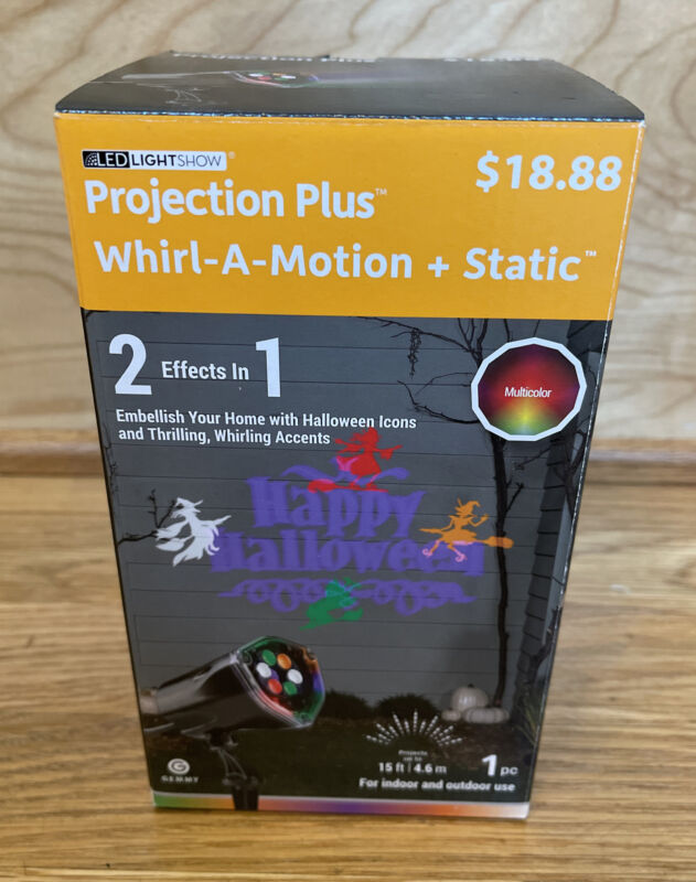Gemmy PROJECTION PLUS WHIRL A MOTION + STATIC HAPPY HALLOWEEN Light Show Witches