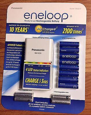 Panasonic Eneloop Rechargeable Battery Kit w/ 8 AA, 4 AAA & Charger - Brand New