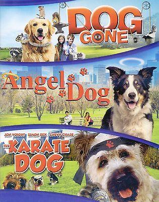 3 family PG dog movies, new DVD set Gone, Angel, Karate, Chevy Chase, Jon Voight