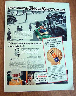 1939 Shell Oil Gas Ad  Royal Dutch Logo Cartoon  Screwdriver