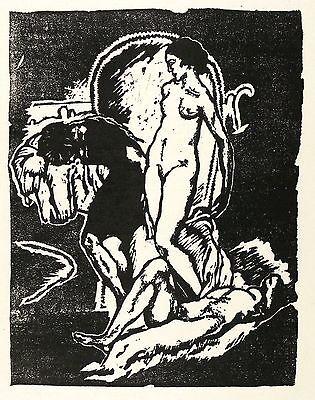 ERICH GRUNER - Am Strande - Linolschnitt 1913