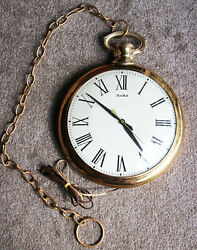 Vintage Large Pocket Watch Wall Clock - Made in the USA by United