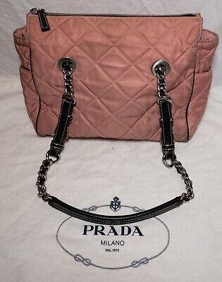 Vintage Prada Pink Nylon Fabric Quilted Shoulder Bag