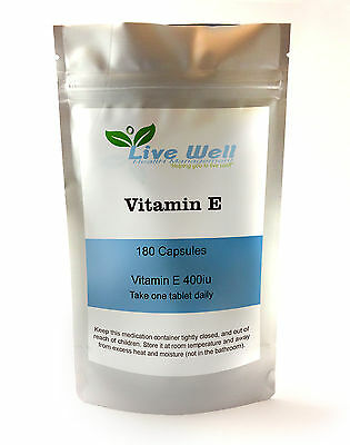 Live Well Vitamin E 400iu Antioxidant Soft Gel capsules, various pack sizes