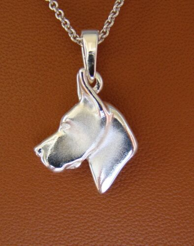 Small Sterling Silver Great Dane Head Study With Cropped Ears Pendant