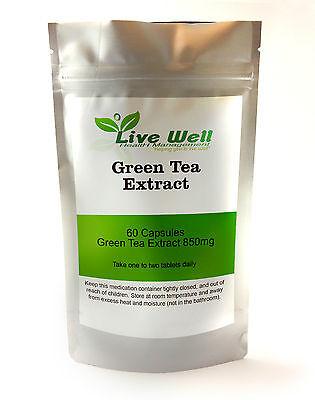 Naturale Estratto Di Tè Verde 850mg per Gestione Del Peso 60 Capsule
