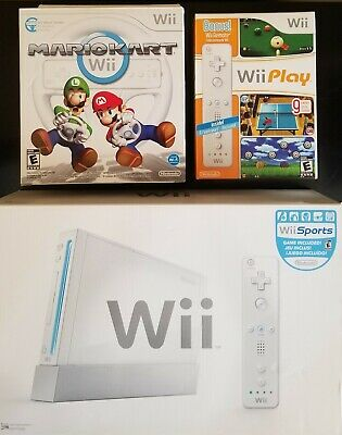 NEW Nintendo Wii Sports Console, Wii Play with Remote and Wii Mario Kart Bundle