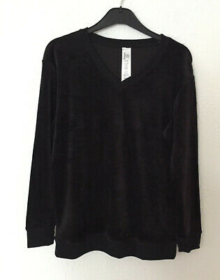 Jezebel Ladies Black Velour Lounge Pyjama Top Size M Bnwt