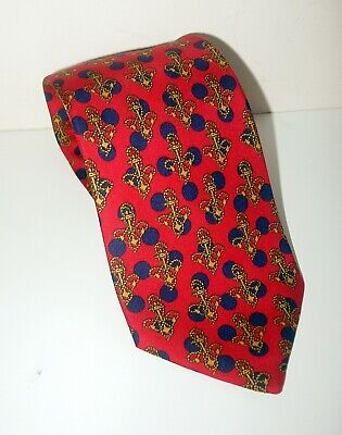 VINTAGE GUCCI Men's 100% Silk Tie/Elegant RED,NAVY & GOLD-GEOMETRIC/ANCHOR-ITALY