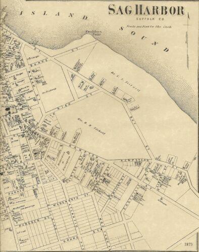 Sag Harbor NY 1873 Map with Homeowners Names Shown