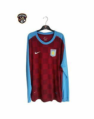 Aston Villa FC Football Long Sleeve Home Shirt 2011-2012 (3XL) Player Issue Nike image