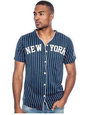True Rock Men's New York Slim Fit Pinstripe Baseball Jersey True Fit T-shirts