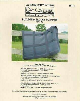 Building Blocks Blanket for Baby Easy Knit Oat Couture EK711 Knitting Pattern