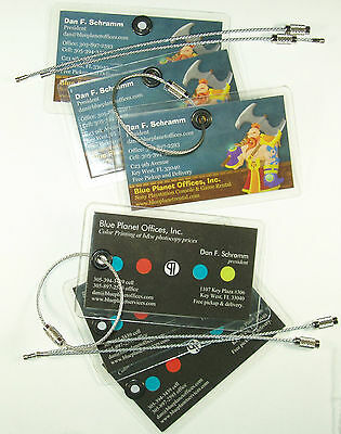 (Business Cards into Luggage Briefcase Tags, Stainless Steel Cables Included )