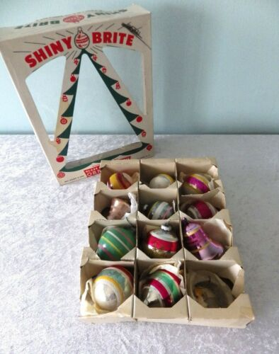 11 vtg Shiny Brite glass striped ornament lot ball bell flocked glitter boxed