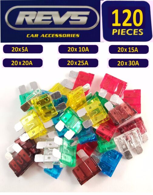 120 Large Standard Car Fuse Set 5/10/15/20/25/30amp Vehicle/Blade/Wedge/Spade