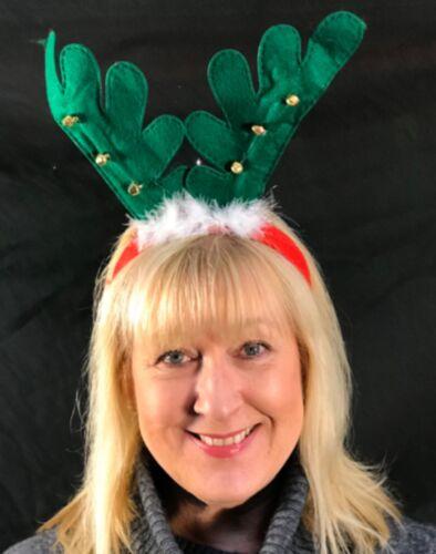 Pack+of+10+Christmas+Party+Reindeer+Antler+HeadBand+with+Fur%2FBells+Festive+Fun