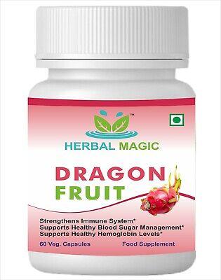 Organic Dragon Fruit Capsul Pink Pitaya Smoothies Cakes Immune Vitamin C Calcium
