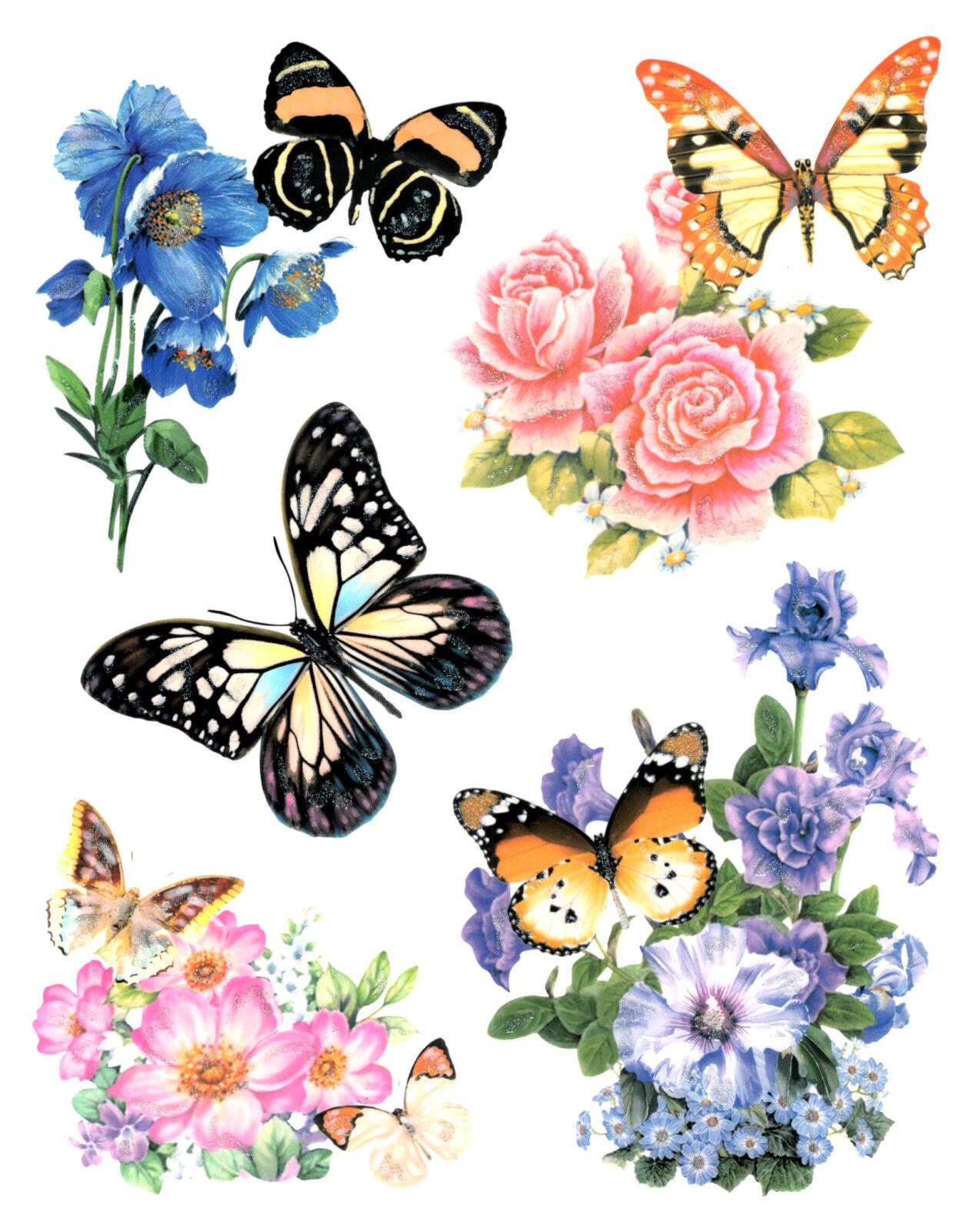 Fensterbild Set Blumen Schmetterlinge Fenstersticker Fenster Deko