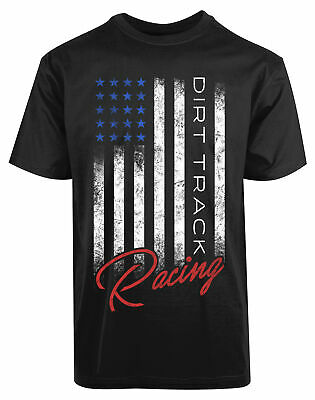 American Flag Dirt Track Racing New Mens Shirt Running Printed Short Sleeves (American Flag Running Shorts)