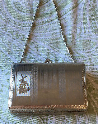 1920s Handbags, Purses, and Shopping Bag Styles ANTIQUE  F.M.CO. SILVER TONE DANCE COIN MAKE UP PURSE  - COMPACT - 1920'S $95.00 AT vintagedancer.com