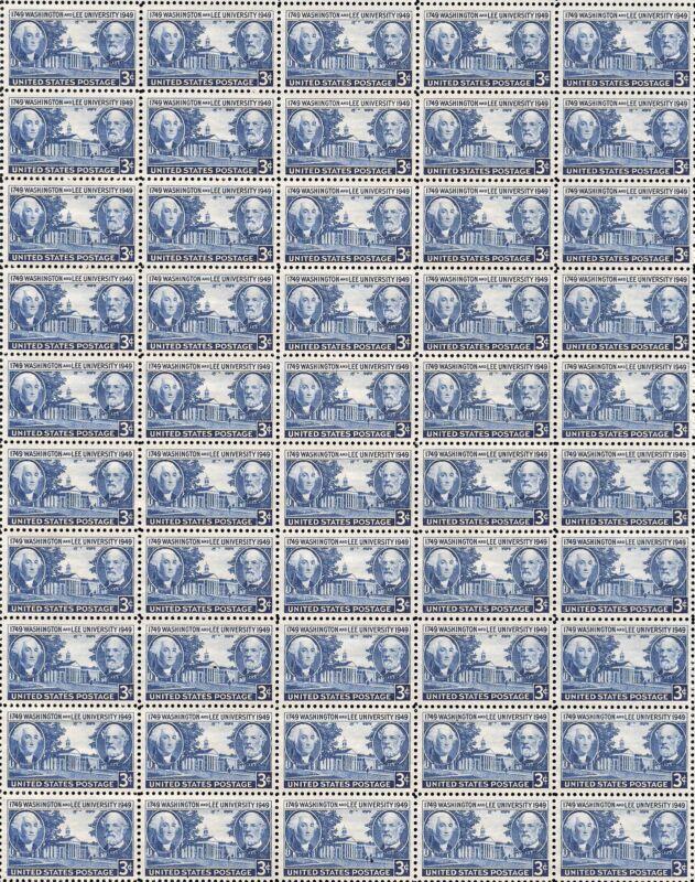 1949- WASHINGTON & LEE UNIVERSITY - Mint Sheet of 50 Vintage U.S. Postage Stamps