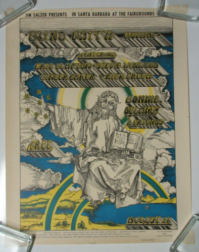 BLIND FAITH Santa Barbara Fairgrounds 1969 Salzer CONCERT POSTER Eric Clapton