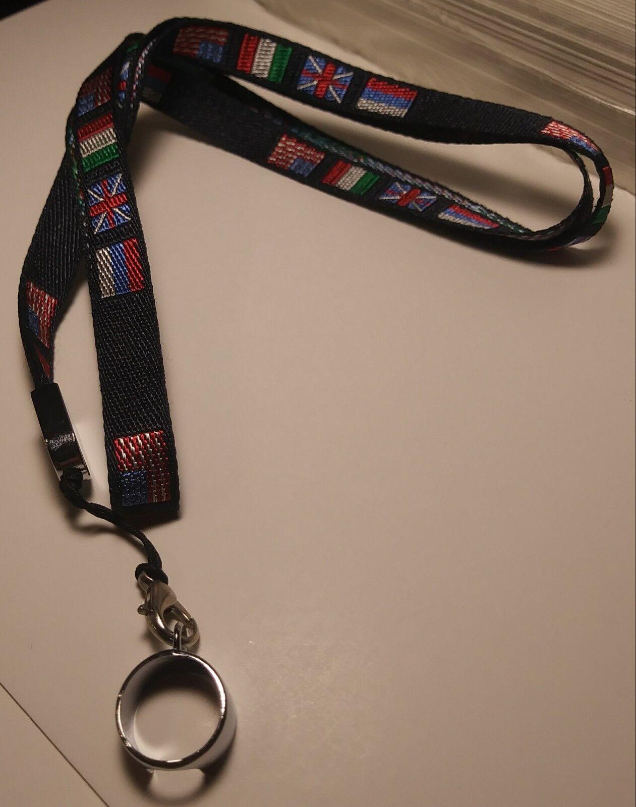 "eGo Pen Vape Lanyard Necklace 19"" KeyChain Lanyard US/Country Flags X 2 LANYARDS"