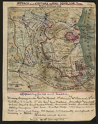 "Attack Capture of Fort Donelson, Tennessee, U.S Grant, Civil War MAP, 20""x16"""
