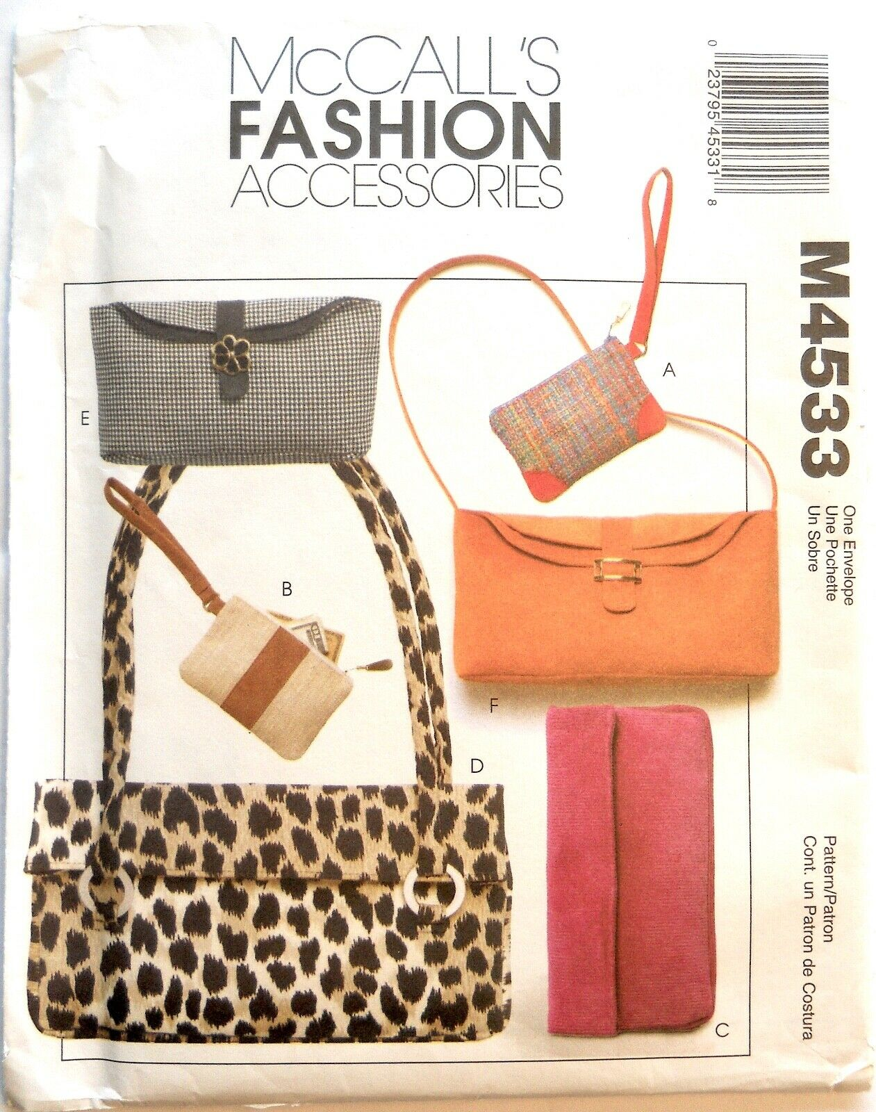 McCall's Fashion Accessories Handbag Purses Pattern M4533 COMPLETE and UNCUT