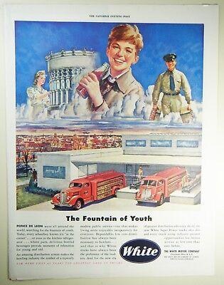 Vintage 1945 WHITE MOTOR COMPANY TRUCKS Large Magazine Print Ad: SODA BOTTLING