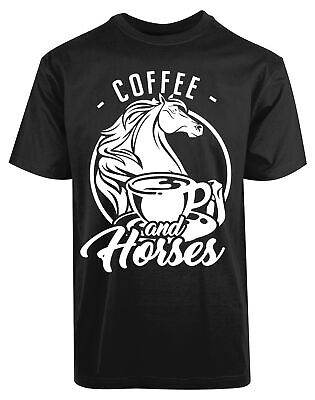 Coffee And Horses New Men's Shirt Funny Humor Comic Animal Lover Summer Cool