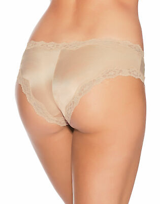 Maidenform Hipster Cheeky Scalloped Lace Bow Trim Nude Beige Size 7 or 8 NWT