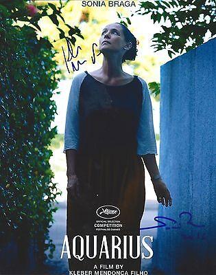 Sonia Braga & Kleber Mendonca Filho signed Aquarius 8x10 photo - In Person Proof ()