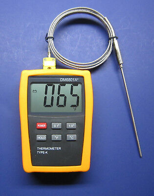 Digital K-type Thermometer High Temperature Pointed Stainless Steel Probe 68ht1