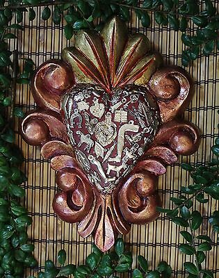 Copper & Gold Color Carved Heart Milagros, Folk Art Michoacán, Mexico LOVE TOKEN