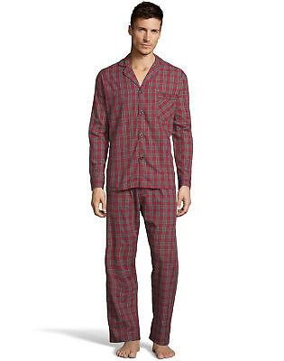 Hanes Mens Woven Pajamas Shirt Pants Set Lounge Sleepwear cotton blend sz (Mens Sleepwear Set)