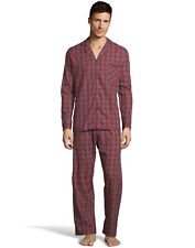 Hanes Mens Woven Pajamas Shirt Pants Set Lounge Sleepwear cotton blend sz S-5XL