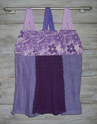 Purple Ribbon Awareness Hanging Finger Tip Powder Room Towel Handmade