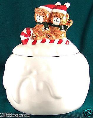 Ceramic Cookie Jar Collector Teddy Bears Sledding On A Snowball Xmas Decoration