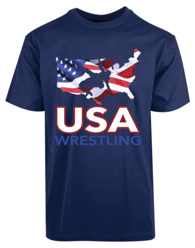 American Flag USA Wrestling New Mens Shirt Patriotic Nation