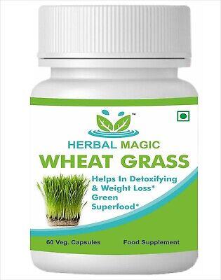 100% Pure & Natural Wheat Grass Capsules - 60 CAPS Boosts Immunity Super Food