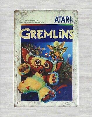 indoor outdoor wall decor Atari gremlins  tin metal sign