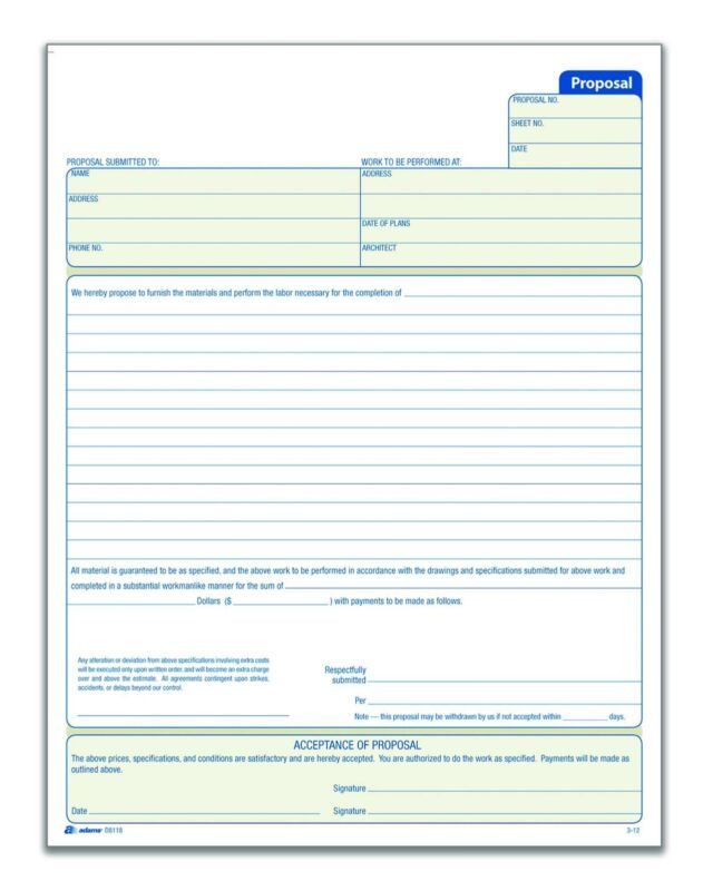 Adams Proposal Book, 2-Part with Carbon, 8.38 x 11.44 Inches, White, 50 Sheets